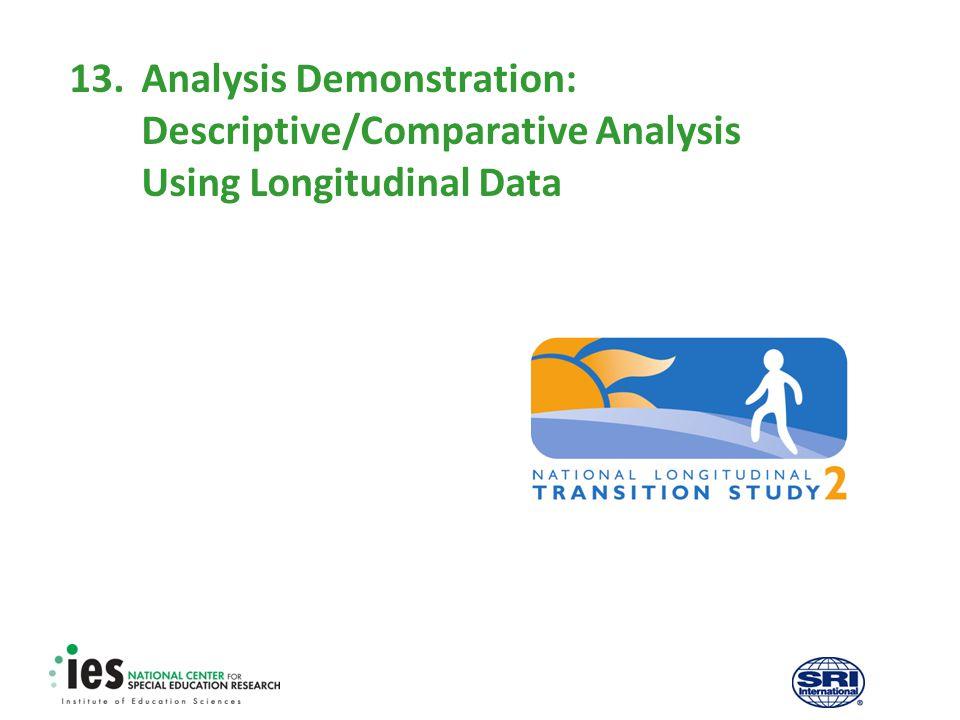 13.Analysis Demonstration: Descriptive/Comparative Analysis Using Longitudinal Data