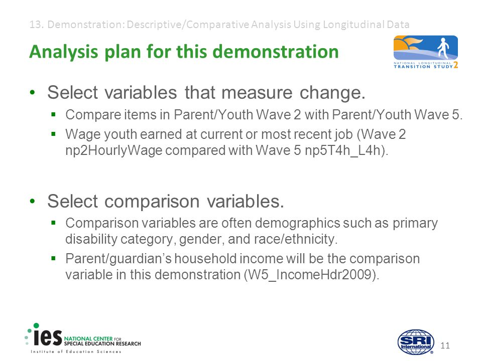 13. Demonstration: Descriptive/Comparative Analysis Using Longitudinal Data 11 Analysis plan for this demonstration Select variables that measure chan