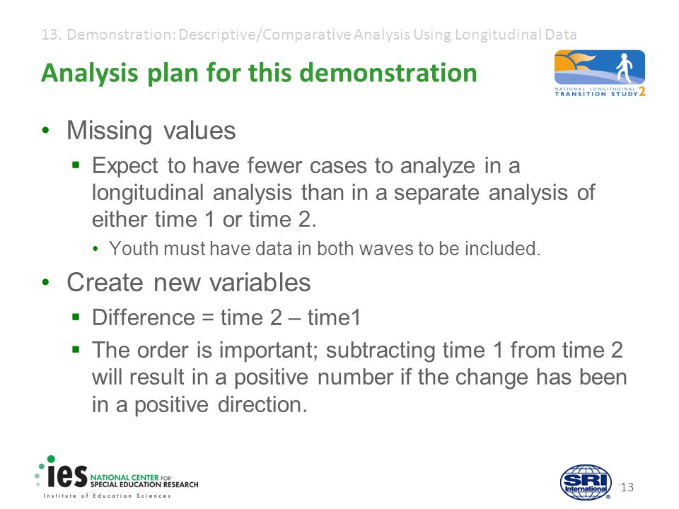 13. Demonstration: Descriptive/Comparative Analysis Using Longitudinal Data 13 Analysis plan for this demonstration Missing values  Expect to have fe