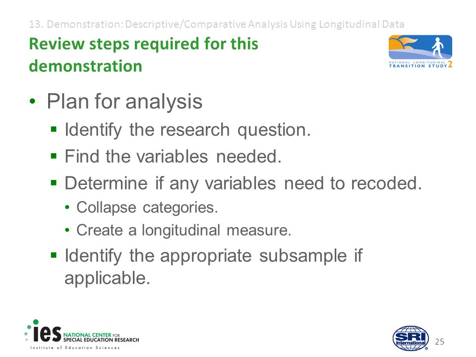 13. Demonstration: Descriptive/Comparative Analysis Using Longitudinal Data 25 Review steps required for this demonstration Plan for analysis  Identi