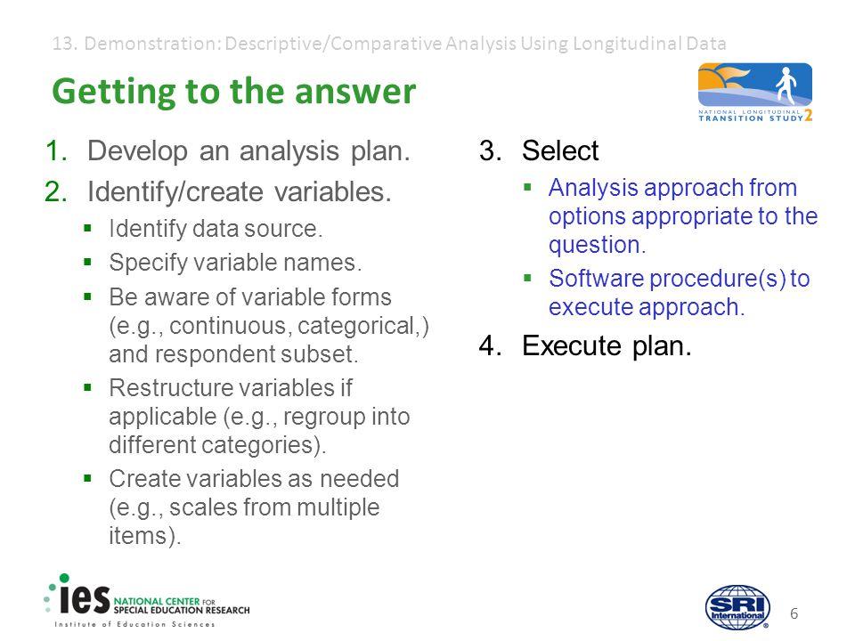 13. Demonstration: Descriptive/Comparative Analysis Using Longitudinal Data 6 Getting to the answer 1.Develop an analysis plan. 2.Identify/create vari