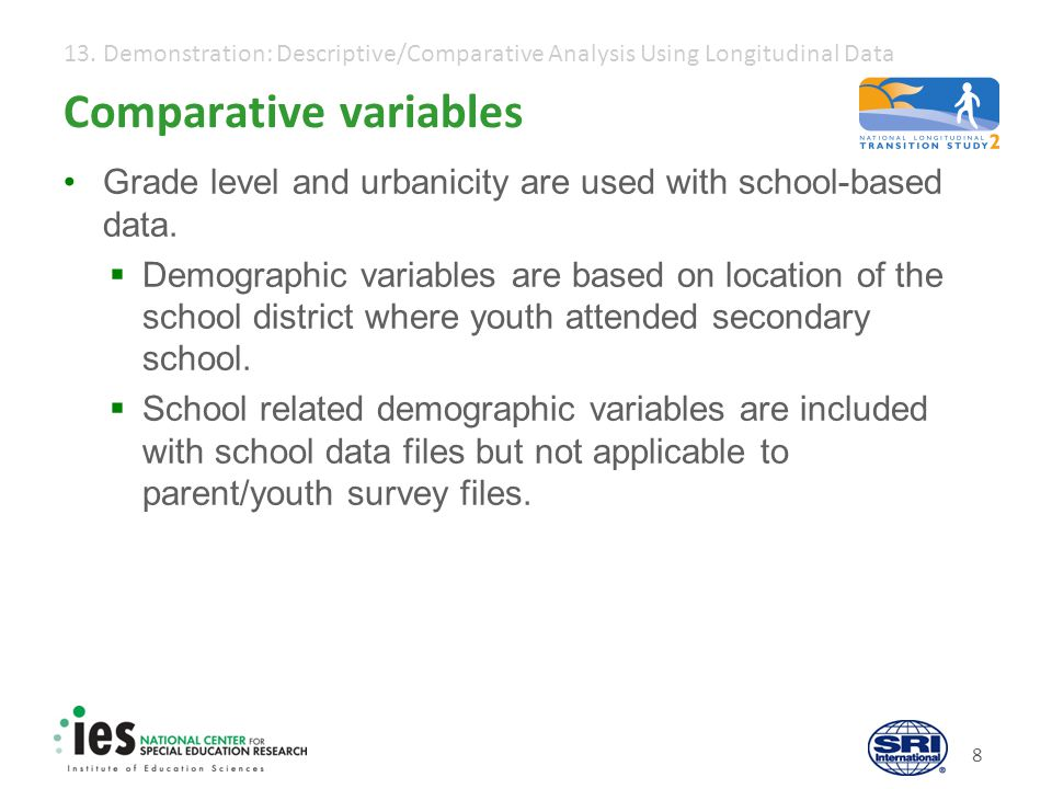 13. Demonstration: Descriptive/Comparative Analysis Using Longitudinal Data 8 Comparative variables Grade level and urbanicity are used with school-ba