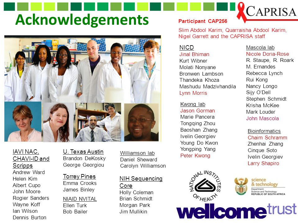 Acknowledgements Participant CAP256 Slim Abdool Karim, Quarraisha Abdool Karim, Nigel Garrett and the CAPRISA staff Mascola lab Nicole Doria-Rose R. S
