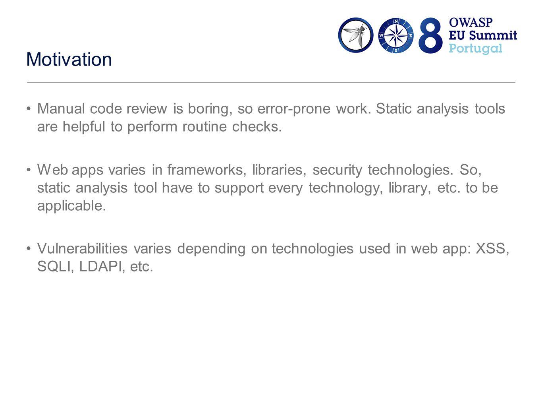 Teaching static analyzer Input validation vulnerabilities: XSS, SQLI, HTTP Response Splitting, and more.