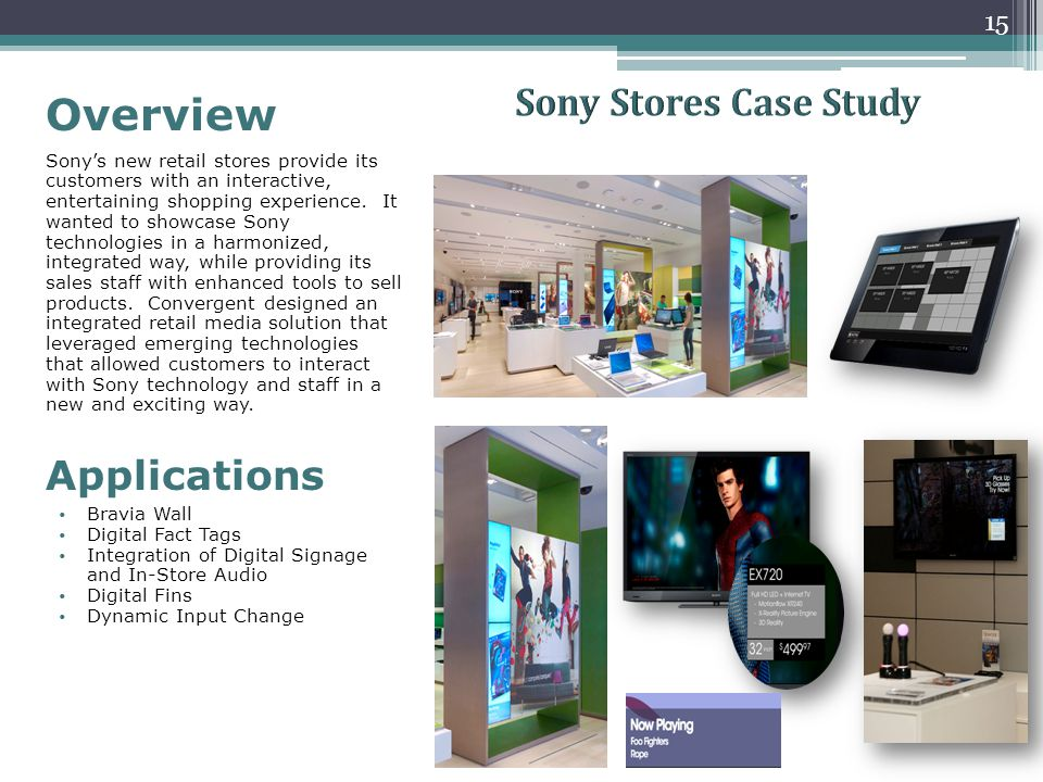 Overview Sony's new retail stores provide its customers with an interactive, entertaining shopping experience. It wanted to showcase Sony technologies