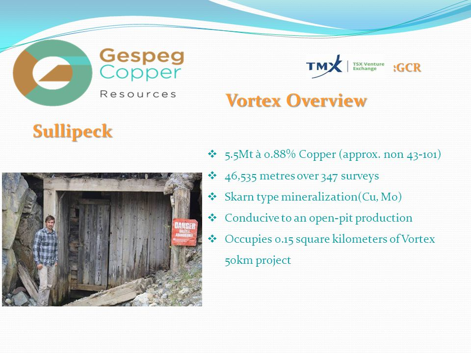 :GCR Sullipeck  5.5Mt à 0.88% Copper (approx. non 43-101)  46,535 metres over 347 surveys  Skarn type mineralization(Cu, Mo)  Conducive to an open