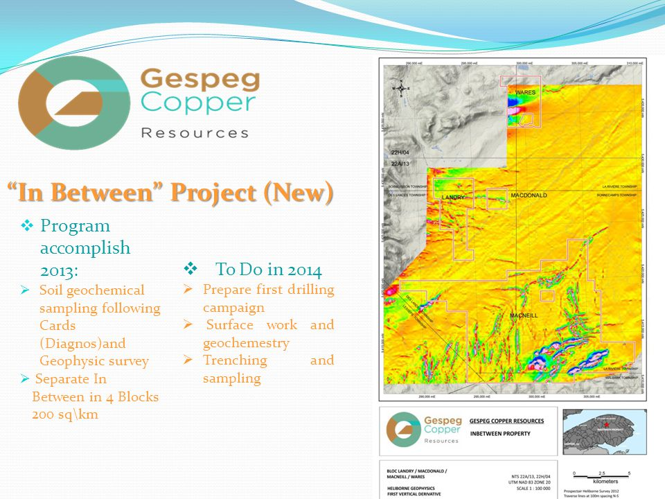 :GCR  Program accomplish 2013:  Soil geochemical sampling following Cards (Diagnos)and Geophysic survey  Separate In Between in 4 Blocks 200 sq\km