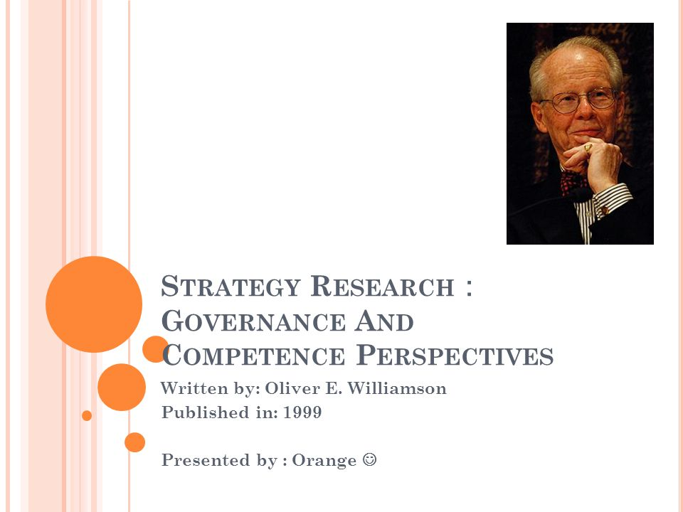 S TRUCTURE OF TODAY ' S PRESENTATION Overview of today's reading Williamson 1999 paper: The focus of this paper The structure of this paper The main contents of this paper What is the future research from this paper Discussions Williamson's work in Transaction Cost The relationship among today's papers