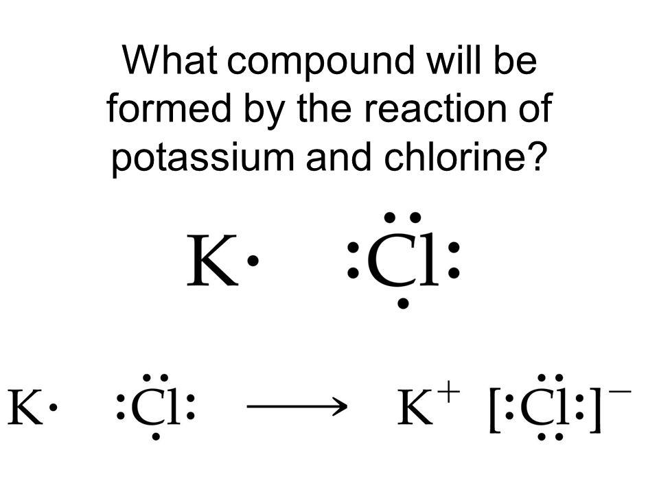 What compound will be formed by the reaction of potassium and chlorine?