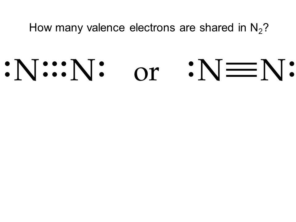 How many valence electrons are shared in N 2 ?