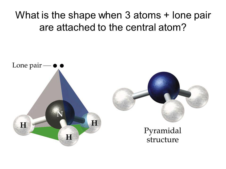 What is the shape when 3 atoms + lone pair are attached to the central atom?
