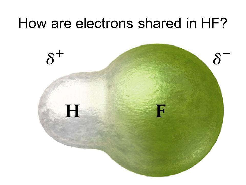 How are electrons shared in HF?