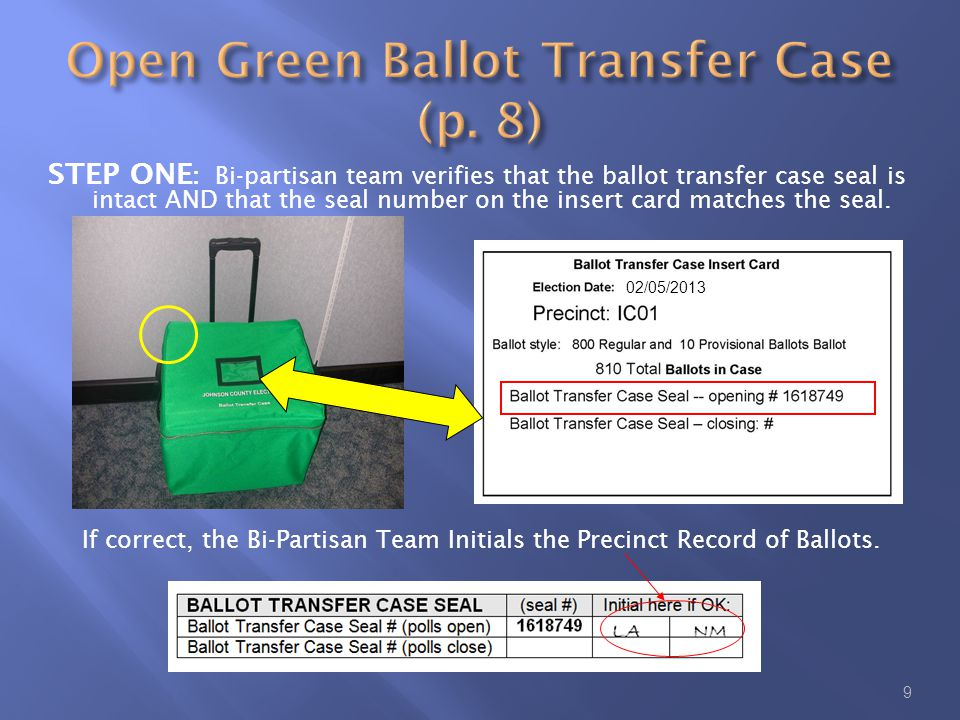STEP ONE : Bi-partisan team verifies that the ballot transfer case seal is intact AND that the seal number on the insert card matches the seal.