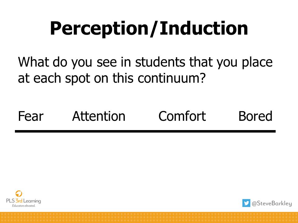 What do you see in students that you place at each spot on this continuum? Fear Attention Comfort Bored Perception/Induction