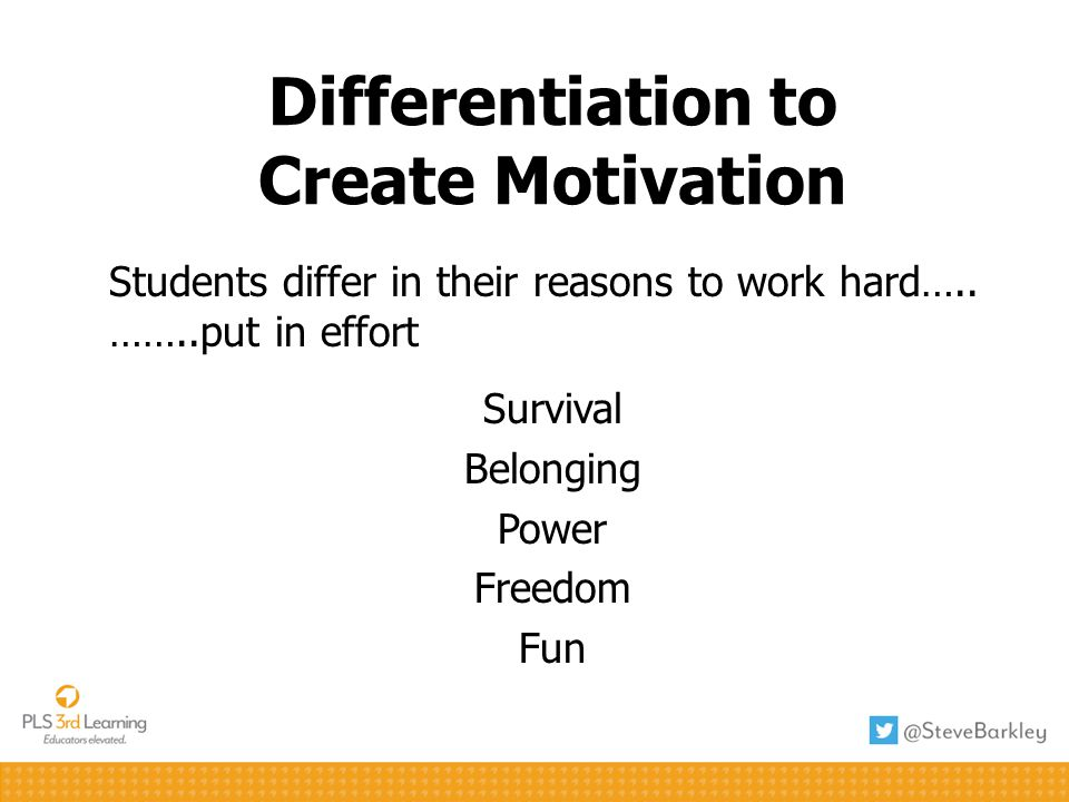 Differentiation to Create Manageable Tasks Students need to trust teacher …… effort will pay off Totally Safe Safety Net Push Off Cliff