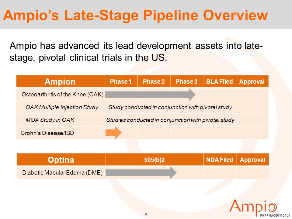 Ampio's Late-Stage Pipeline Overview Ampion Phase 1Phase 2Phase 3BLA FiledApproval Osteoarthritis of the Knee (OAK) OAK Multiple Injection StudyStudy conducted in conjunction with pivotal study MOA Study in OAKStudies conducted in conjunction with pivotal study Crohn's Disease/IBD Optina 505(b)2NDA FiledApproval Diabetic Macular Edema (DME) 5 Ampio has advanced its lead development assets into late- stage, pivotal clinical trials in the US.