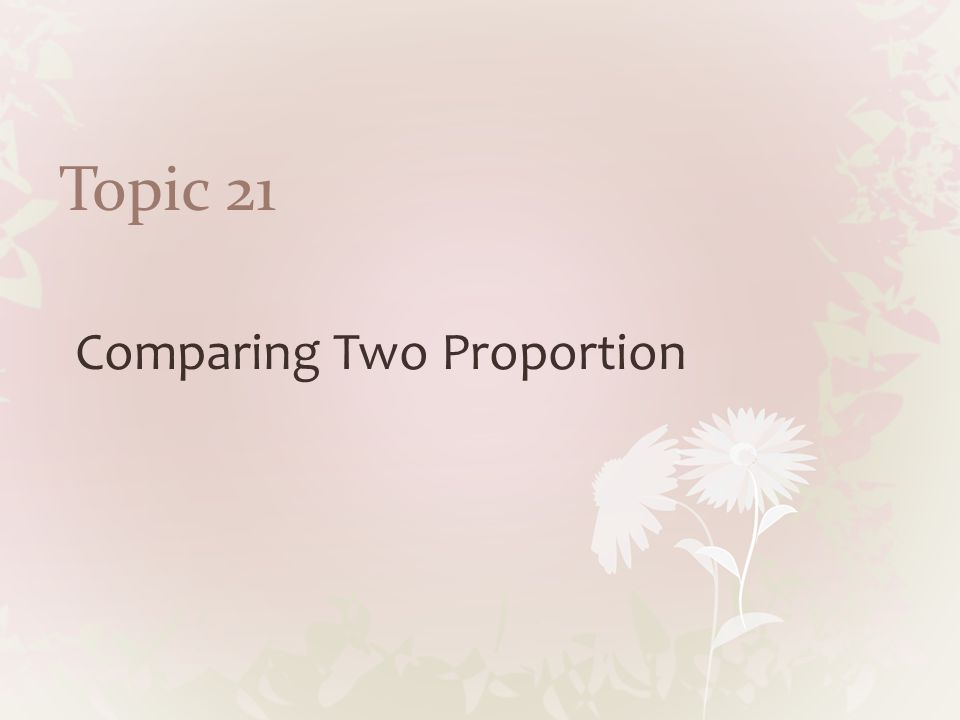 Topic 21 Comparing Two Proportion