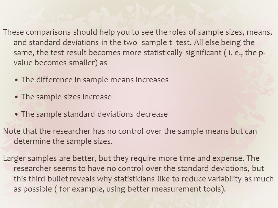 These comparisons should help you to see the roles of sample sizes, means, and standard deviations in the two- sample t- test. All else being the same