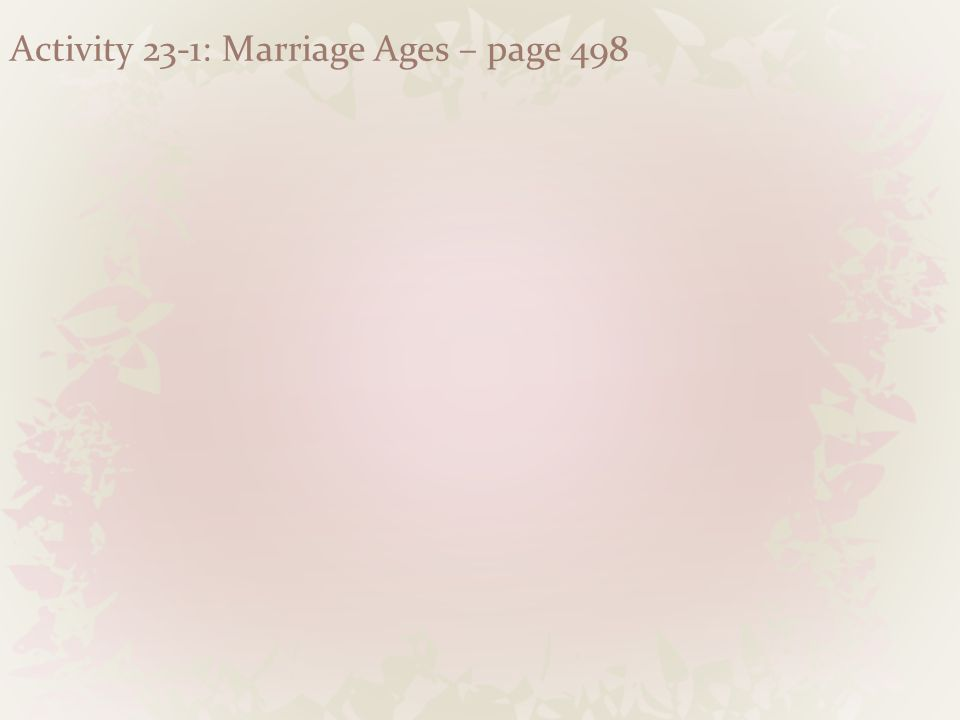 Activity 23-1: Marriage Ages – page 498