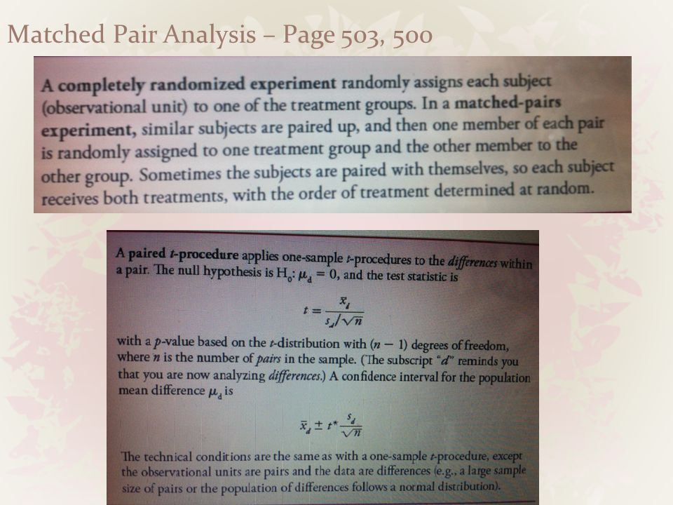 Matched Pair Analysis – Page 503, 500