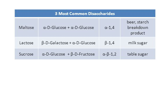 3 Most Common Disaccharides Maltoseα-D-Glucose + α-D-Glucoseα-1,4 beer, starch breakdown product Lactoseβ-D-Galactose + α-D-Glucoseβ-1,4milk sugar Suc