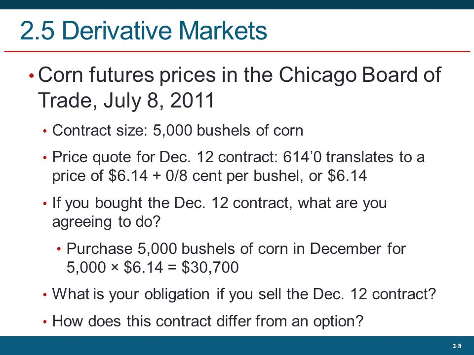 2-9 2.5 Derivative Markets Derivatives Securities Options Basic Positions Call (Buy/Sell?) Put (Buy/Sell?) Terms Exercise price Expiration date Futures Basic Positions Long (Buy/Sell?) Short (Buy/Sell?) Terms Delivery date Deliverable item