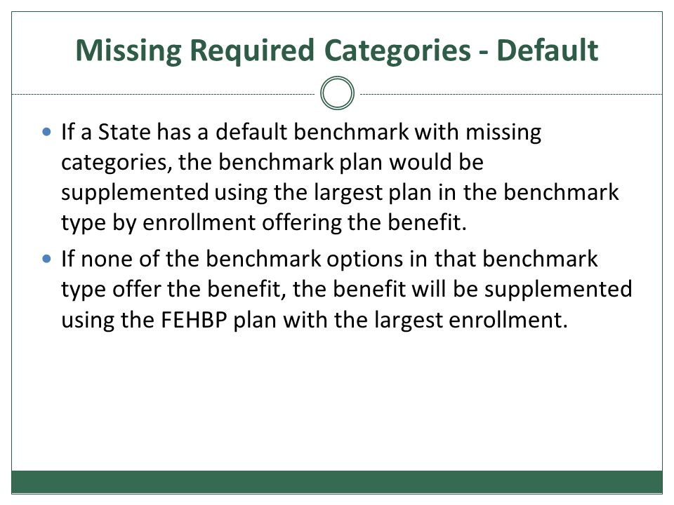 Missing Required Categories - Default If a State has a default benchmark with missing categories, the benchmark plan would be supplemented using the l