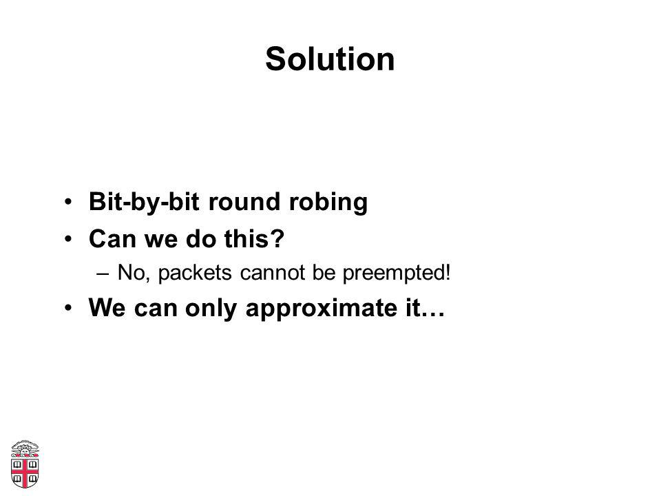 Solution Bit-by-bit round robing Can we do this. –No, packets cannot be preempted.