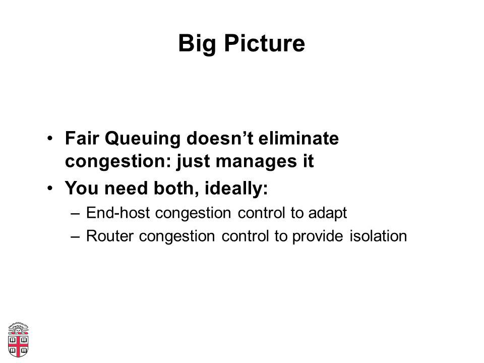 Big Picture Fair Queuing doesn't eliminate congestion: just manages it You need both, ideally: –End-host congestion control to adapt –Router congestion control to provide isolation