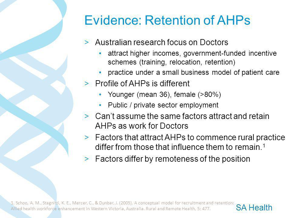 SA Health Evidence: Retention of AHPs >Australian research focus on Doctors attract higher incomes, government-funded incentive schemes (training, relocation, retention) practice under a small business model of patient care >Profile of AHPs is different Younger (mean 36), female (>80%) Public / private sector employment >Can't assume the same factors attract and retain AHPs as work for Doctors >Factors that attract AHPs to commence rural practice differ from those that influence them to remain.