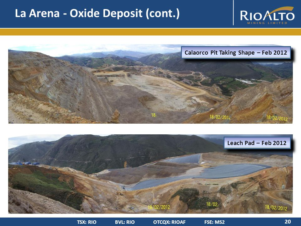 TSX: RIO BVL: RIO OTCQX: RIOAF FSE: MS2 La Arena - Oxide Deposit (cont.) 20 Calaorco Pit Taking Shape – Feb 2012 Leach Pad – Feb 2012