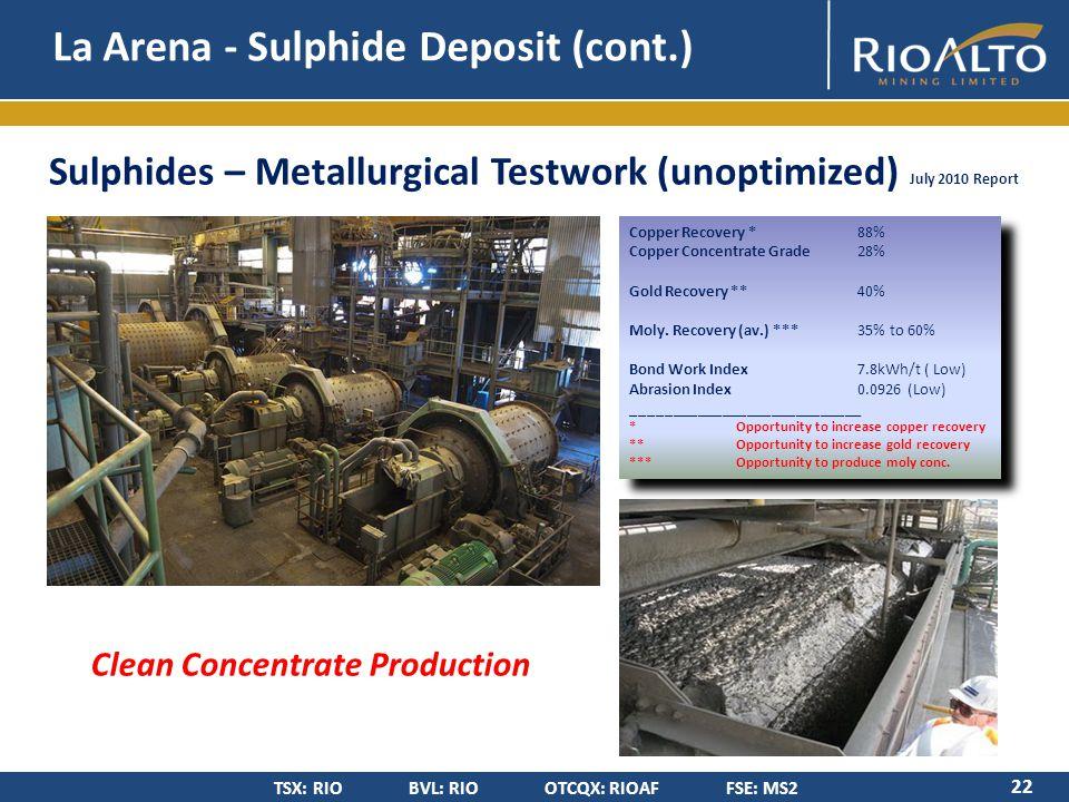 TSX: RIO BVL: RIO OTCQX: RIOAF FSE: MS2 Sulphides – Metallurgical Testwork (unoptimized) July 2010 Report La Arena - Sulphide Deposit (cont.) 22 Copper Recovery * 88% Copper Concentrate Grade 28% Gold Recovery ** 40% Moly.