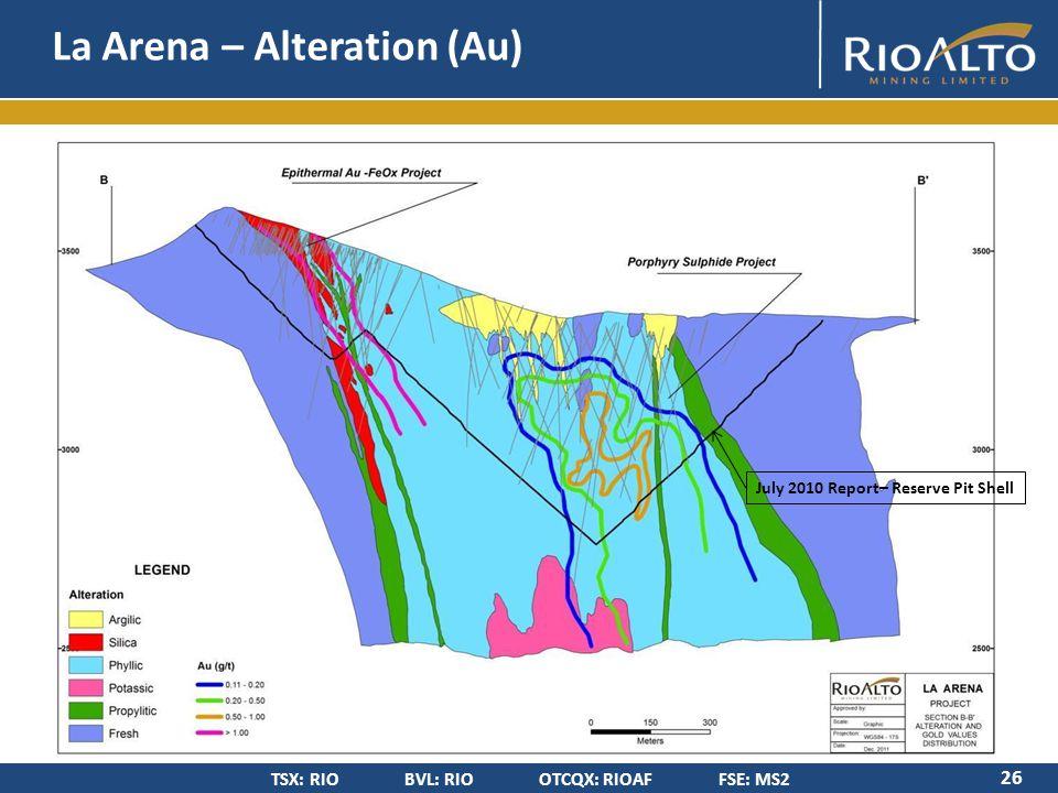 TSX: RIO BVL: RIO OTCQX: RIOAF FSE: MS2 La Arena – Alteration (Au) 26 July 2010 Report– Reserve Pit Shell