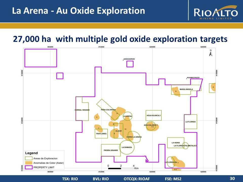 TSX: RIO BVL: RIO OTCQX: RIOAF FSE: MS2 27,000 ha with multiple gold oxide exploration targets La Arena - Au Oxide Exploration 30