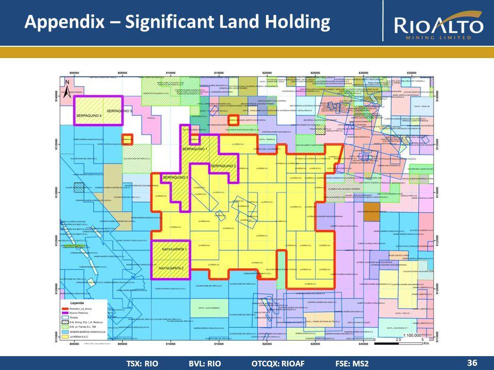 TSX: RIO BVL: RIO OTCQX: RIOAF FSE: MS2 Appendix – Significant Land Holding 36