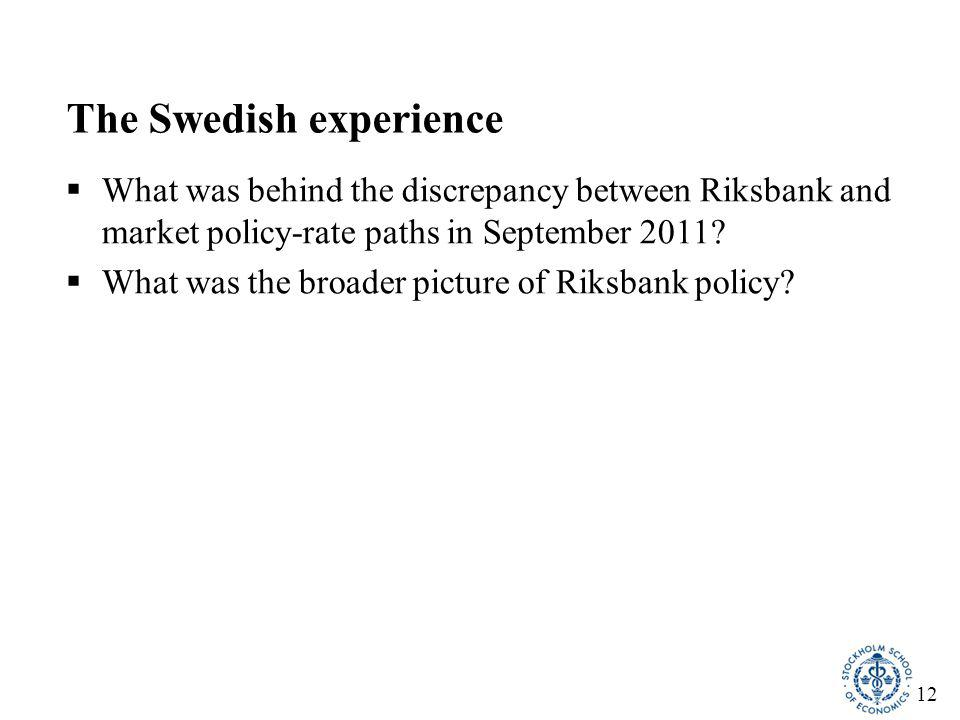 12 The Swedish experience  What was behind the discrepancy between Riksbank and market policy-rate paths in September 2011?  What was the broader pi