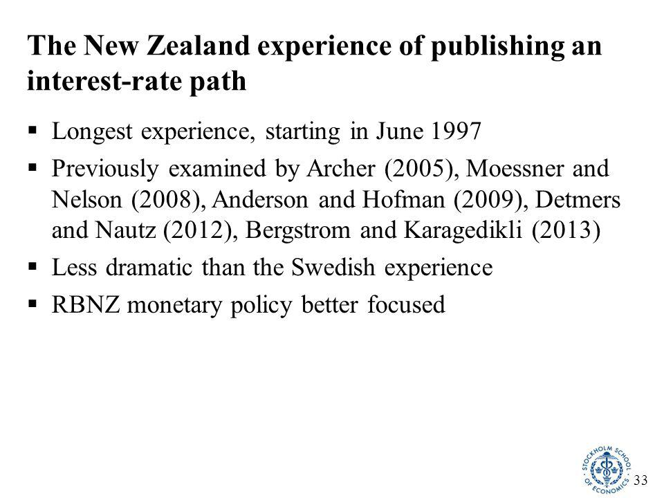 33 The New Zealand experience of publishing an interest-rate path  Longest experience, starting in June 1997  Previously examined by Archer (2005),