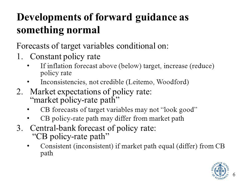 17 Actual yield curve implied much easier policy than intended  Market did not believe Riksbank policy-rate path  Market possibly understood that it would lead to too strong a krona, which would have forced the Riksbank to back down (this confirmed by informal discussions with market participants)  Actual MP much easier than intended  Intended MP would have implied 5-year bond rate 1.7 pp higher  Good for the economy that the RB policy-rate path was not credible
