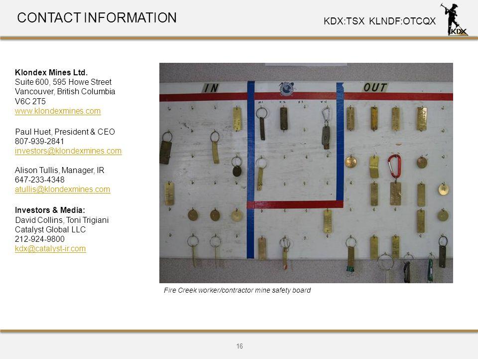CONTACT INFORMATION Klondex Mines Ltd.