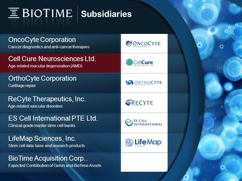 Subsidiaries 15 OncoCyte Corporation Cancer diagnostics and anti-cancer therapies OrthoCyte Corporation Cartilage repair ES Cell International PTE Ltd.