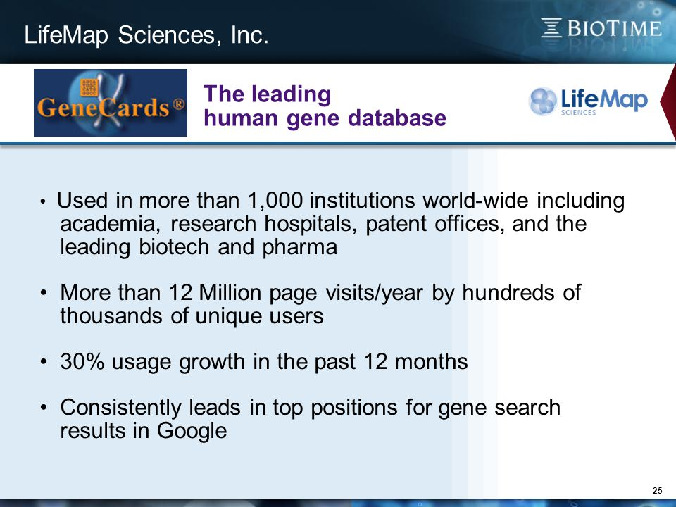 LifeMap Sciences, Inc. 25 Used in more than 1,000 institutions world-wide including academia, research hospitals, patent offices, and the leading biot