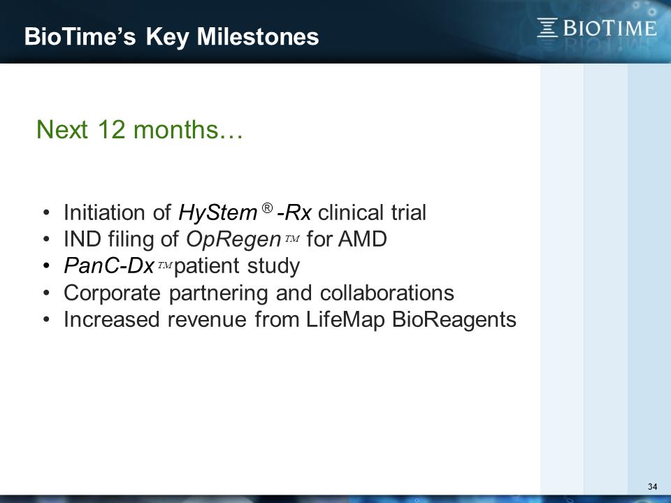 BioTime's Key Milestones 34 Next 12 months… Initiation of HyStem ® -Rx clinical trial IND filing of OpRegen  for AMD PanC-Dx  patient study Corporate partnering and collaborations Increased revenue from LifeMap BioReagents