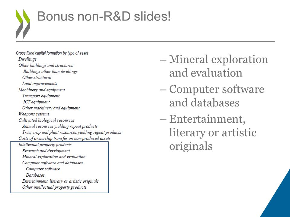 – Mineral exploration and evaluation – Computer software and databases – Entertainment, literary or artistic originals Bonus non-R&D slides!
