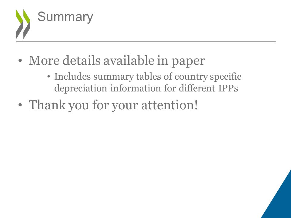 More details available in paper Includes summary tables of country specific depreciation information for different IPPs Thank you for your attention.