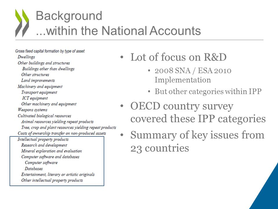 Background...within the National Accounts Lot of focus on R&D 2008 SNA / ESA 2010 Implementation But other categories within IPP OECD country survey covered these IPP categories Summary of key issues from 23 countries