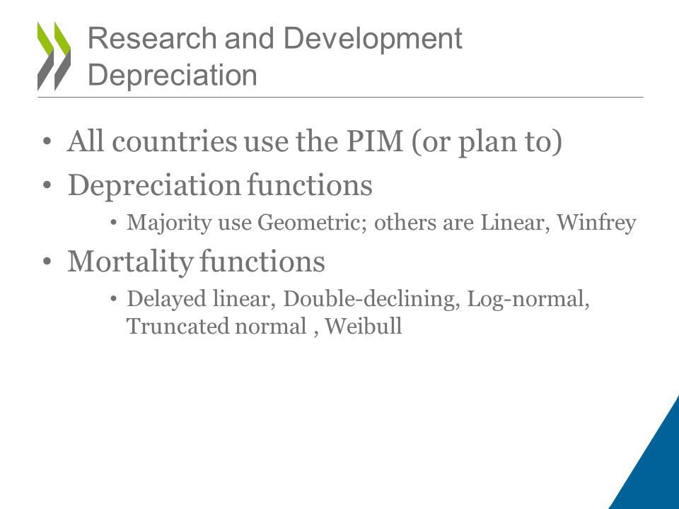 All countries use the PIM (or plan to) Depreciation functions Majority use Geometric; others are Linear, Winfrey Mortality functions Delayed linear, D