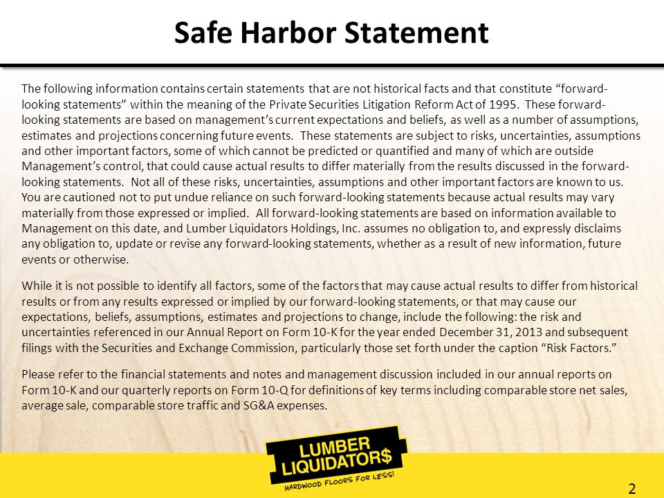 2 Safe Harbor Statement The following information contains certain statements that are not historical facts and that constitute forward- looking statements within the meaning of the Private Securities Litigation Reform Act of 1995.