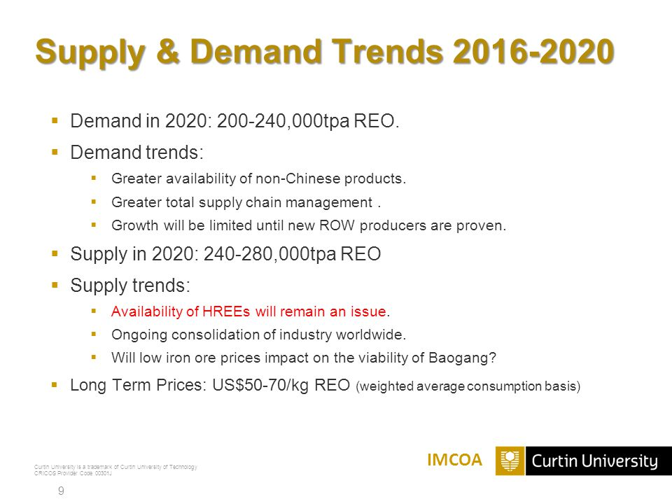 Curtin University is a trademark of Curtin University of Technology CRICOS Provider Code 00301J Supply & Demand Trends 2016-2020  Demand in 2020: 200-240,000tpa REO.