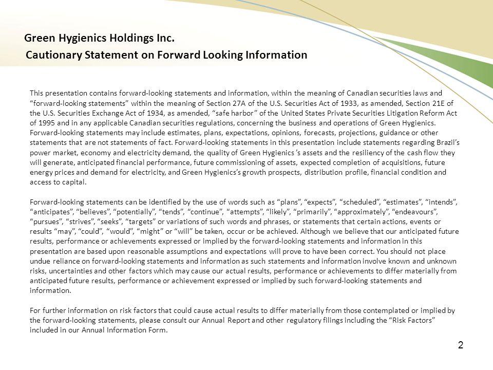 Green Hygienics Holdings Inc.
