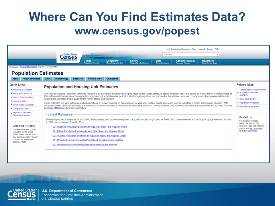 Where Can You Find Estimates Data? www.census.gov/popest